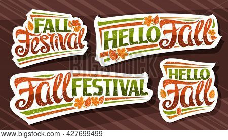 Vector Set For Fall Season, White Logos With Curly Calligraphic Font, Falling Autumn Leaves And Deco