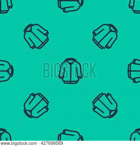 Blue Line Hoodie Icon Isolated Seamless Pattern On Green Background. Hooded Sweatshirt. Vector