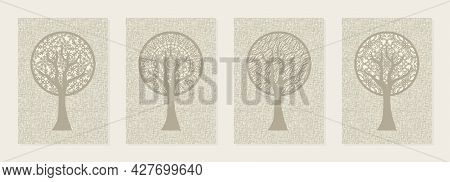 Set Of Four Abstract Wall Picture. Seasonality Theme. Stylized Trees Of Calm Pastel Beige Color. Rou