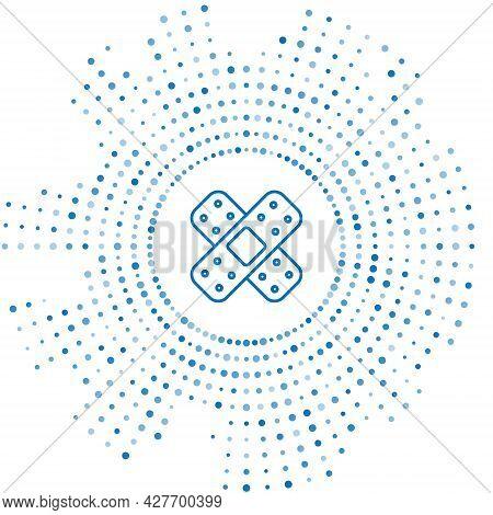 Blue Line Crossed Bandage Plaster Icon Isolated On White Background. Medical Plaster, Adhesive Banda