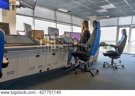 Air Traffic Controller Workplace. Work Space Of The Manager Of Takeoffs And Landings Of Aircraft At