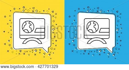 Set Line Breaking News Icon Isolated On Yellow And Blue Background. News On Television. News Anchor