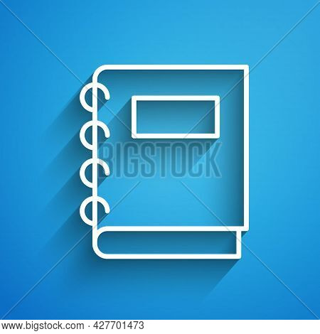 White Line Notebook Icon Isolated On Blue Background. Spiral Notepad Icon. School Notebook. Writing