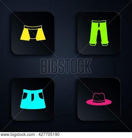 Set Man Hat, Men Underpants, Skirt And Pants. Black Square Button. Vector