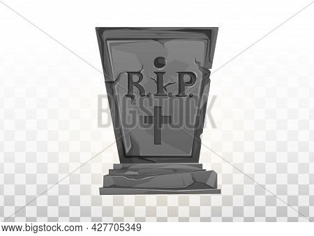 Monument On The Grave. Gravestone In The Cemetery. Gray Monument On The Grave Of Rip. Vector Cartoon