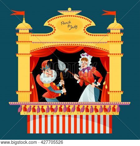 Traditional Puppet Show Featuring Mr. Punch And His Wife Judy. Vector Illustration