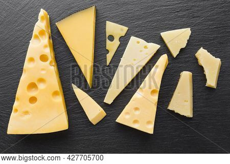 Flat Lay Assortent Emmental Cheese. High Quality Beautiful Photo Concept