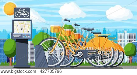 City Bicycle Sharing System And Urban Landscape. Bike Stand With Rental Bicycles. Bike On Docking St