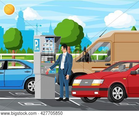 Man Pay For Car Park With Parking Meter Cityscape. Ticket Machine Icon. Male Car Driver And Sedan Ve