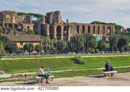 Rome, Italy - October 2019: View Of The Palatine Hill, Centre Of Roman Empire In Ancient Rome From A