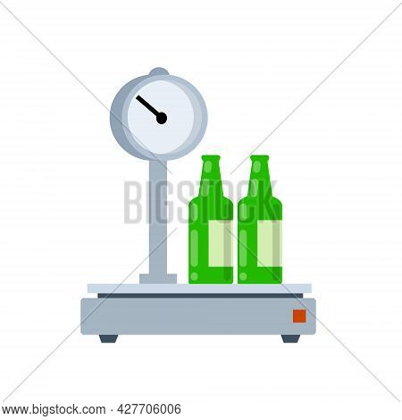 Bottles On Scales. Shopping At Grocery And Alcohol Store. Weighing Product. Decoration For Store And