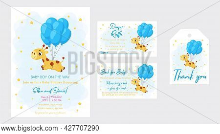Baby Shower Printable Party Invitation Card Template Baby Boy On The Way With Diaper Raffle, Book Fo
