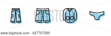 Set Line Sweater, Pants, Short Or Pants And Men Underpants Icon. Vector