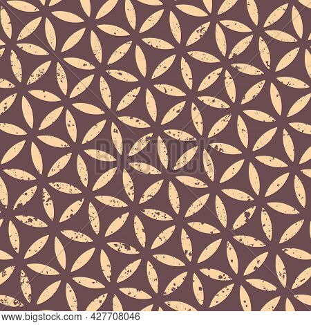 Abstract Gold Grunge Pattern Flower Of Life, Vector Illustration. Sacred Geometry In Flower Pattern