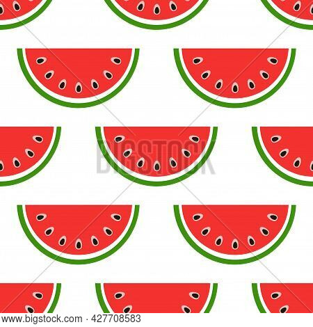 Seamless Watermelon Pattern. Slices With Red Flesh And Black Seeds. Summer Bright Vector Illustratio