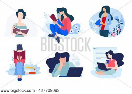 Back To School. Flat Design Concepts Of Education, E-learning, School, Online Courses And Training.