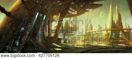 Digital Illustration Of Futuristic Science Fiction City Building With Abstract Structure Environment