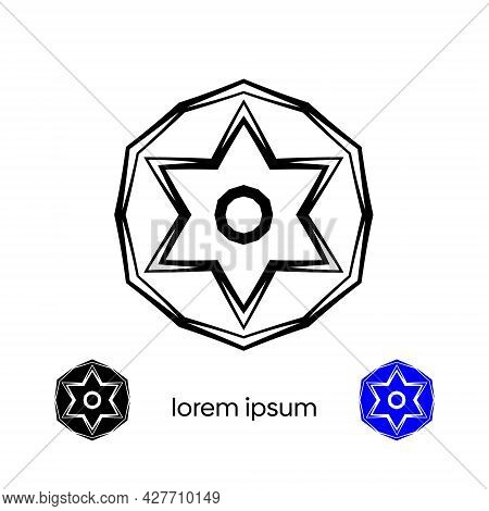 Decorative Tribal Ornament. Abstract Pentacle Logo Icon Vector Design.