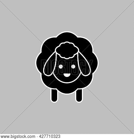 Black And White Sheep Icon. Vector Drawing. Lamb Silhouette Isolated Clipart And Illustration.