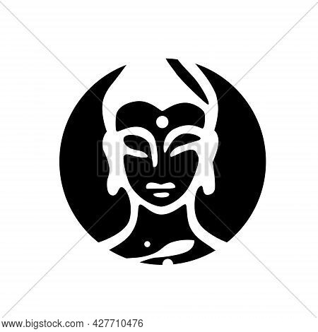 Buddha Head Drawing Vector, Ohm Sign. Head In Circle.