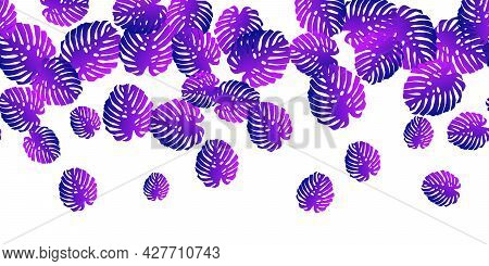 Tropical Seamless Pattern With Colorful Neon Exotic Leaves Gradient On White. Trendy Flat Jungle Lus