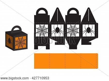 Happy Halloween Treat Box. Gift Party Favor Box For Sweets, Candies, Small Presents, Bakery. Simple