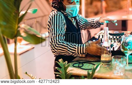 Dj Mixing Music At Cocktail Bar During Covid19 - Party Nightlife Concept