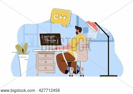 Software Engineering Concept. Programmer Creates Apps, Works At Computer Situation. Development Of P