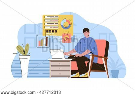Work From Home Concept. Employee Works Online, Freelance At Home Office Situation. Comfortable Remot