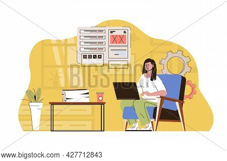 Work In Better Place Concept. Woman Working On Laptop From Home Office Situation. Comfortable Remote