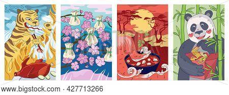 Chinese Cuisine Poster Tiger With Chopsticks Eat Peking Duck. China National Food Banner Dumplings D
