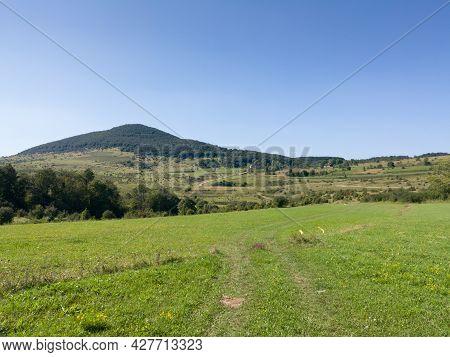 Hill Grcka Gradina On Manjaca Mountain Overgrown With Forest Near Banja Luka, Bosnia And Herzegovina
