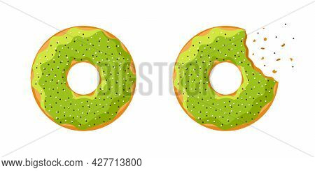 Cartoon Colorful Tasty Donut Whole And Bitten Set Isolated On White Background. Green Glazed Doughnu