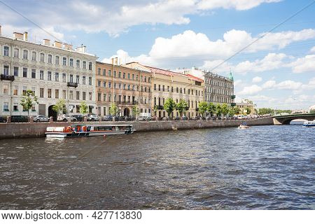 Embankment Of Neva River With Buildings On A Sunny Day - Saint Petersburg, Russia, June 2021