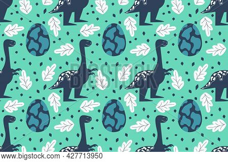 Seamless Pattern With Dinosaurs And An Egg. Tyrannosaurus Smile. Vector Illustration In A Flat Style