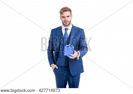 Confident Man Businessman In Businesslike Suit Hold Present Box As Business Reward, Boxing Day.