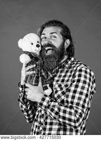 Feel Joy. Cheerful Bearded Man Hold Teddy Bear. Male Feel Playful With Bear. Brutal Mature Hipster M