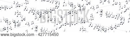 Seamless Flying Musical Notes On White. Musical Symbols For Banner Of Festival, Print Design, Melody