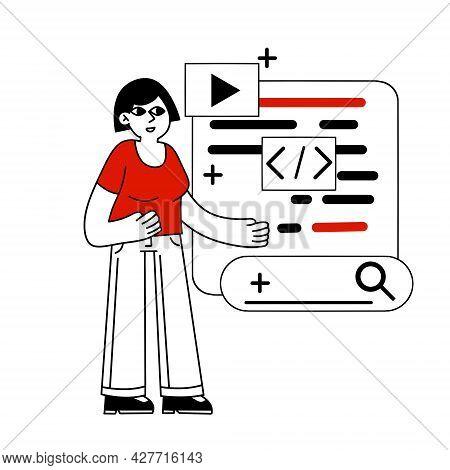 Female Character Web Designer. Creating Mobile App And Woman Programmer. Outline Cartoon Illustratio