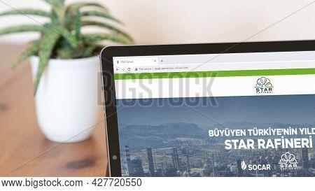Istanbul, Turkey - July 2021: Illustrative Editorial Screenshot Of Turkish Socar Star Rafineri Websi