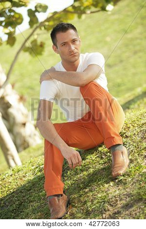 Stock image of a man in the park