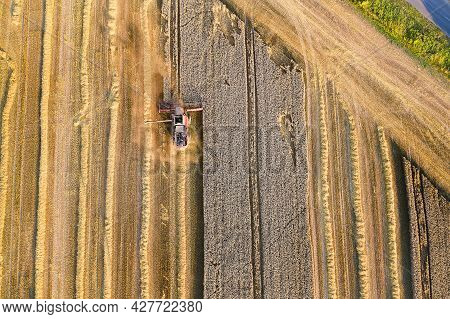 A Modern Combine Harvester With A Header Cuts And Threshes Ripe Wheat Grains. Harvesting Wheat In Th
