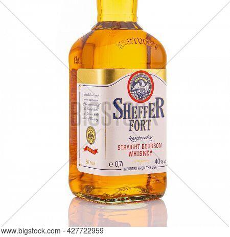 Berlin - JAN 15, 2020: Discount Sheffer Fort Scotch Whiskey from the supermarket on store shelf in Berlin. Sheffer Fort  Bourbon is an Discounter Scotch Whiskey from the supermarket