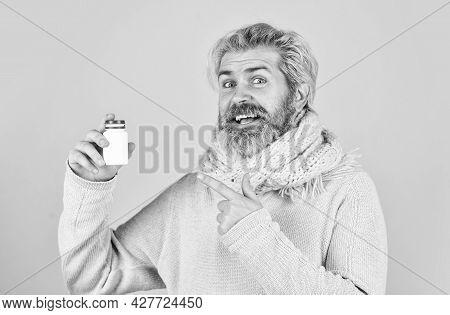 Strengthen Immunity. Painkillers Pills. Headache Treatment. Mature Man Taking Pills. Natural And Org