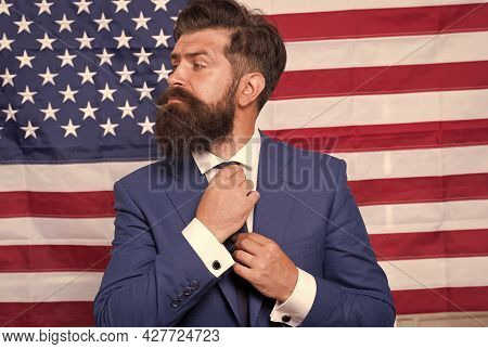 American Citizen. Happy Celebration Of Victory. Bearded Hipster Man Being Patriotic For Usa. Tv Host