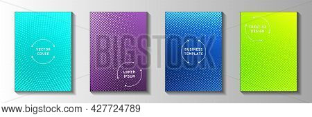 Creative Circle Faded Screen Tone Cover Templates Vector Kit. Geometric Notebook Perforated Screen