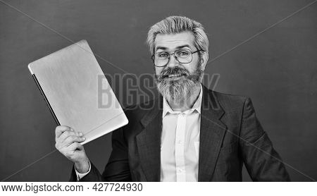 Bearded Man Modern Laptop Surfing Internet. Interesting Information. Provide Accurate Current Inform
