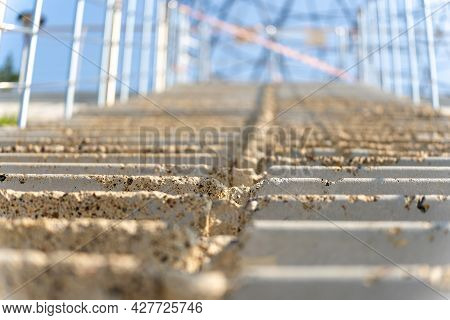 Stairs, Concrete Steps Up, Metal Fence, Sunny Day, There Is No One, The Background Is Blurred