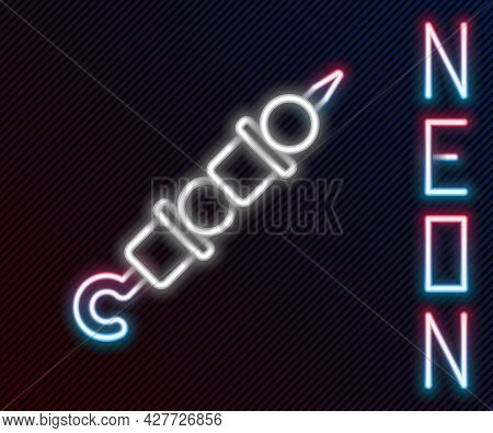Glowing Neon Line Grilled Shish Kebab On Skewer Stick Icon Isolated On Black Background. Meat Kebab