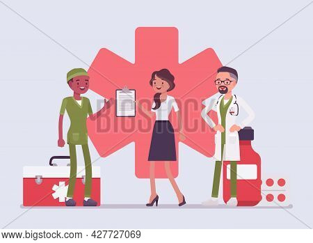 Healthcare Female Administrator Managing Doctors, Monitoring Hospital. Clinic Assistant Busy Check H